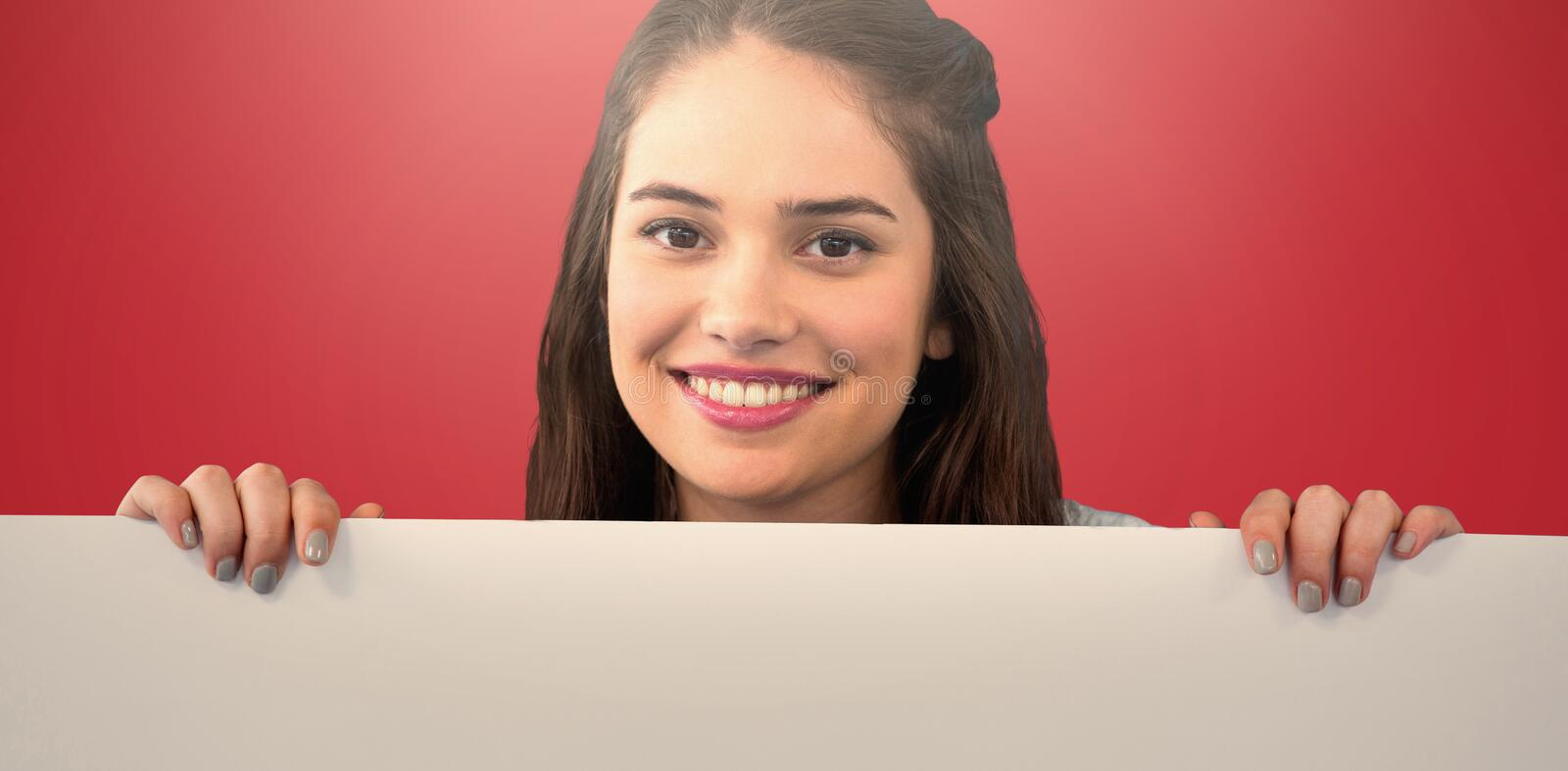 Composite image of women with banner royalty free stock image