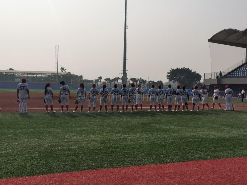 Women in Baseball Flag Raising royalty free stock photos