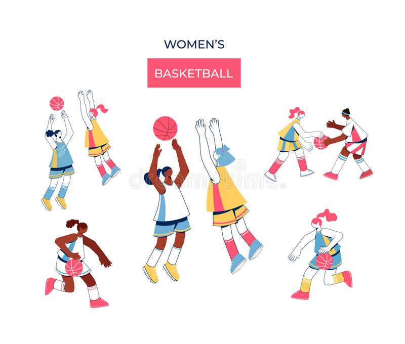 Women playing basketball collection. stock illustration