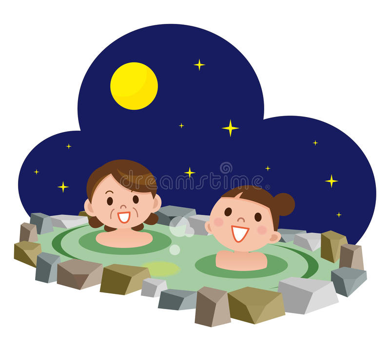 Women bathing in hot springs. Vector illustration.Original paintings and drawing vector illustration
