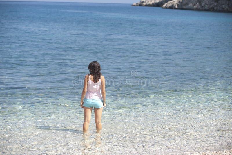 Women on beach stock image