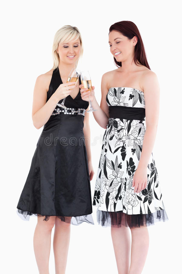 Download Women In Beautiful Dresses Toasting With Champaign Stock Photo - Image: 21015780