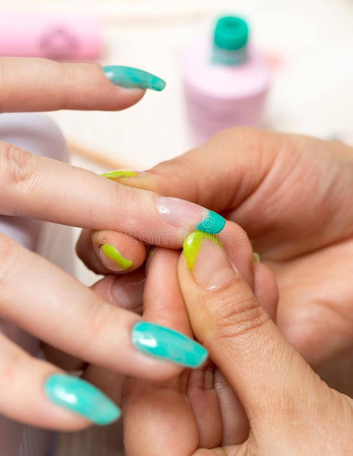 Women in a beauty salon manicure royalty free stock images