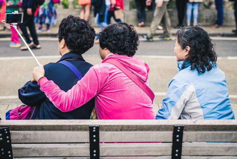 Women On Bench Taking Selfie Free Public Domain Cc0 Image