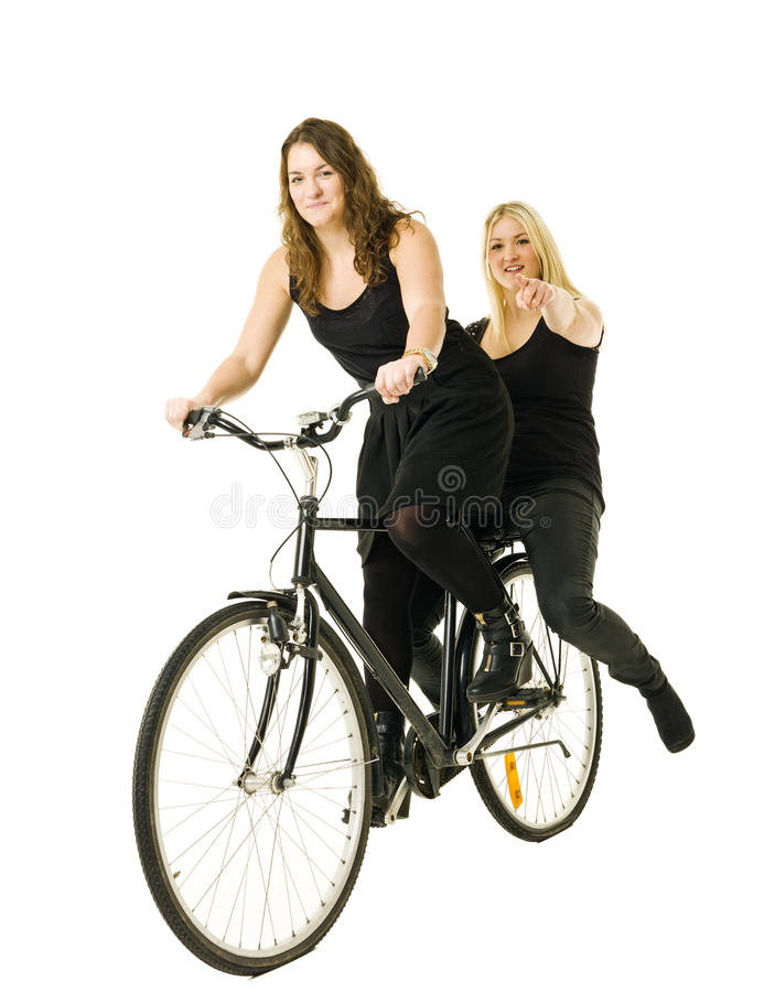 Download Women on a bicycle stock image. Image of holding, pointing - 22540941