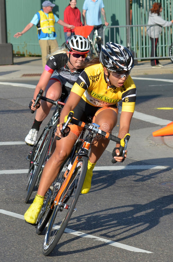 Women Bicycle Criterium Racers A stock images