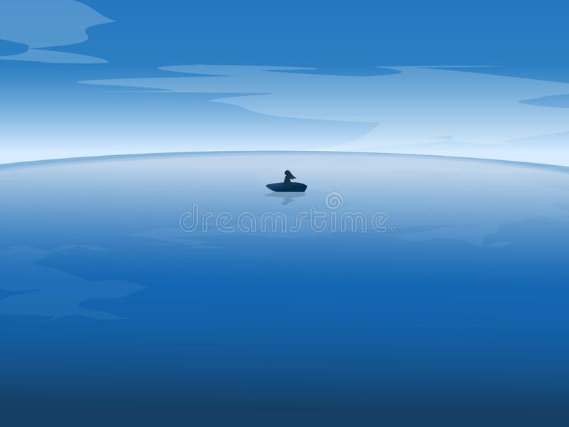 A women on boat at the ocean landscape graphic design stock image