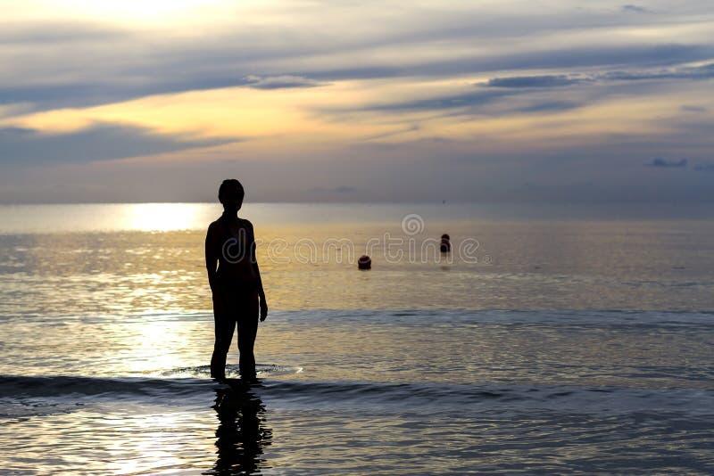 Women body silhouette sunrise stock photography