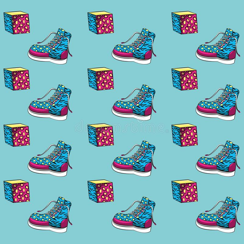 Women boot and cubes background vector illustration
