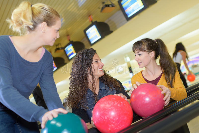 Women in bowling center. Women in the bowling center royalty free stock photos