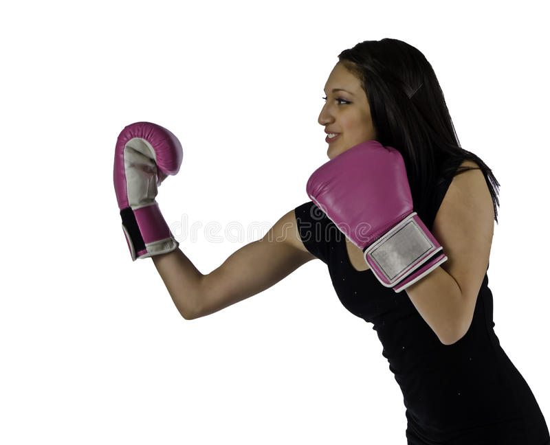 Women boxer with an under cut royalty free stock photo
