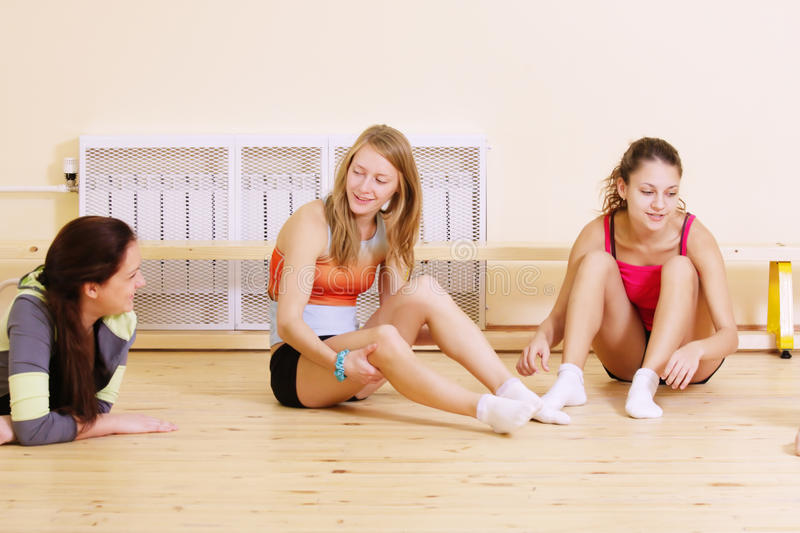 Download Women at break in gym stock image. Image of three, chatting - 12009995