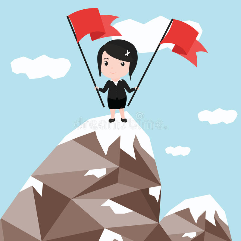 Women business target and victory and motivation, success and mi. Ssion stock illustration