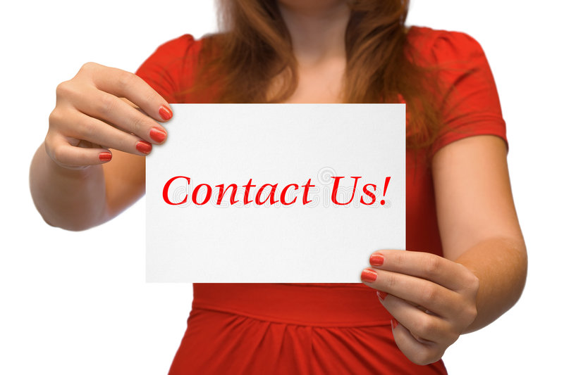 Women with card Contact Us royalty free stock images