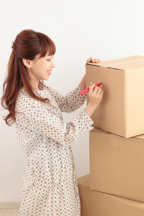 Download Women and cardboard stock image. Image of asian, happy - 22852871
