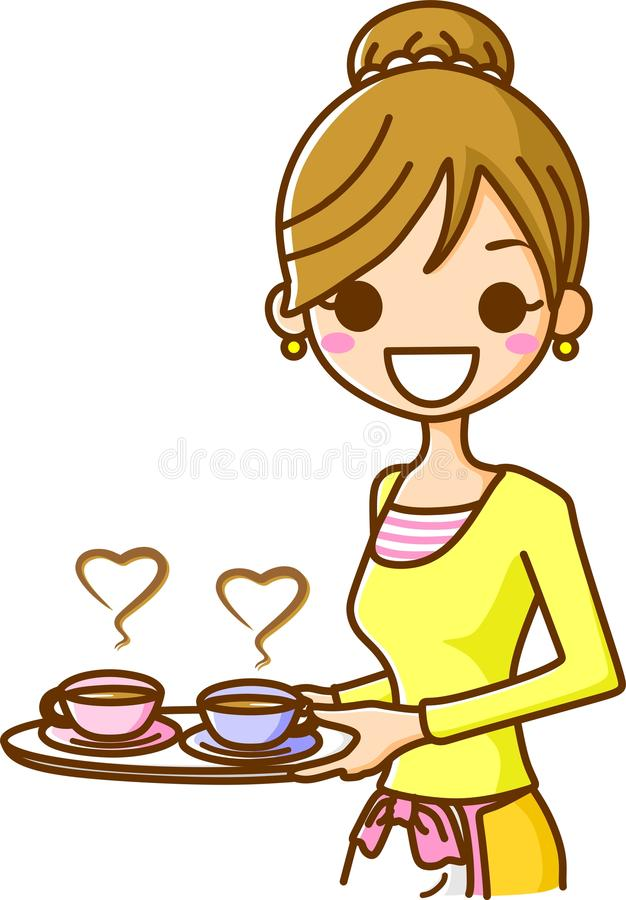 Download Women Carrying A Cup Of Coffee Stock Illustration - Illustration: 21696416