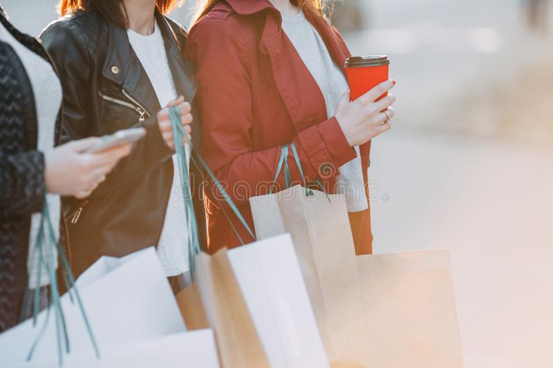 Women carrying many shopping bags royalty free stock photos