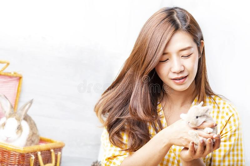Women carrying a rabbit. Pretty young female holds cute little rabbit on white background. A young woman carrying a rabbit at royalty free stock photo