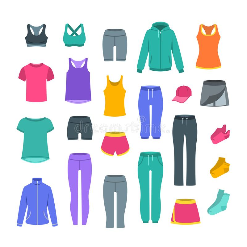 Women casual clothes for gym fitness training. Women casual clothes for fitness training. Basic garments for gym workout. Vector flat illustration. Outfit for stock illustration