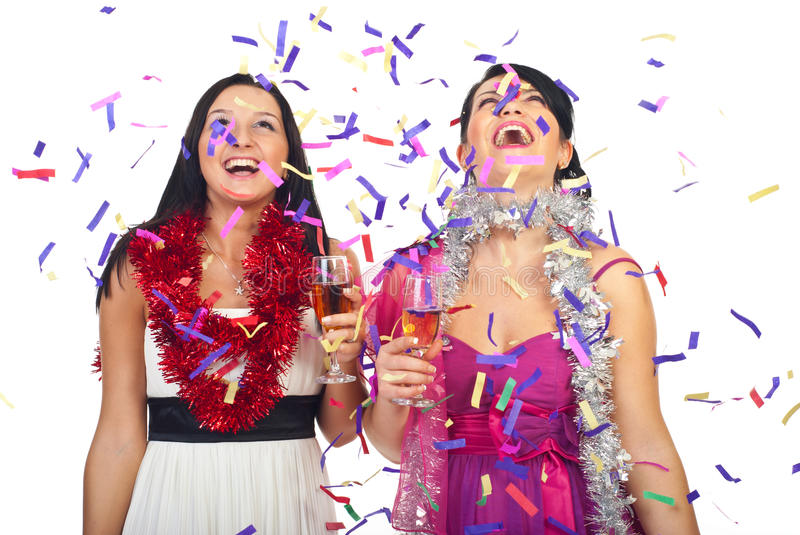 Women celebrate new year party royalty free stock photography