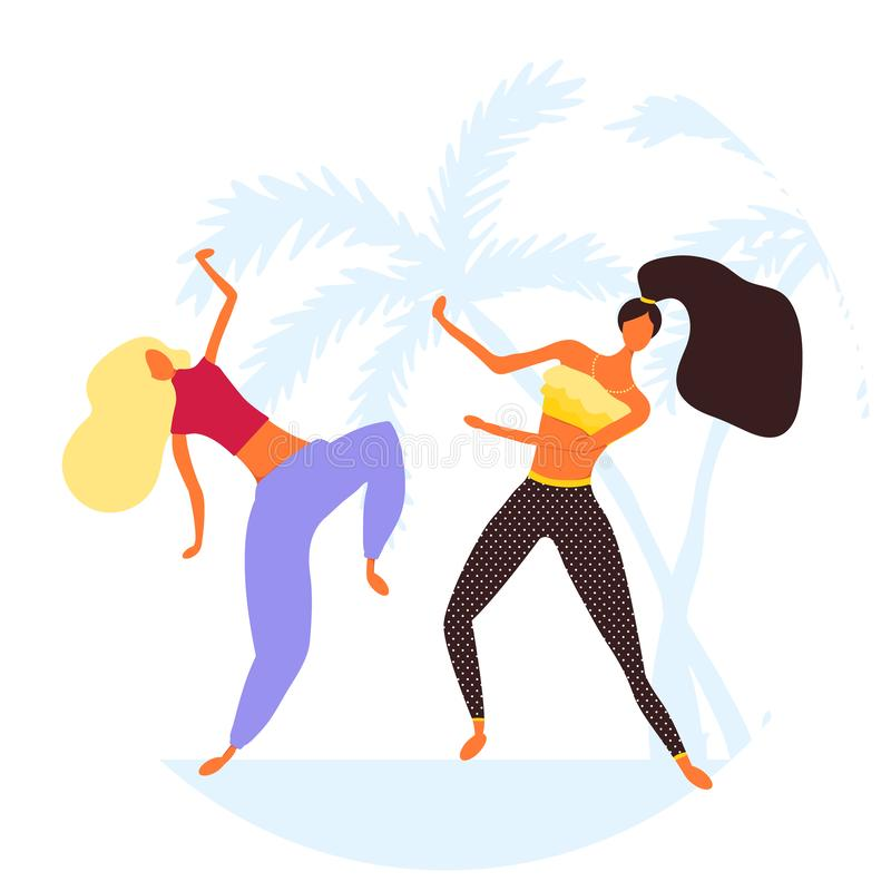 Women character dancing in a modern flat style stock illustration