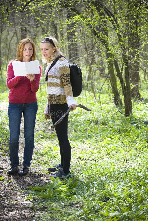 Women Checking Map stock images