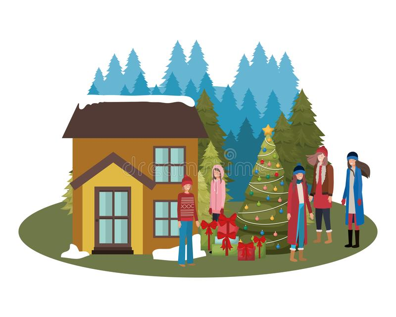 Women with christmas tree outside the house. Vector illustration desing stock illustration