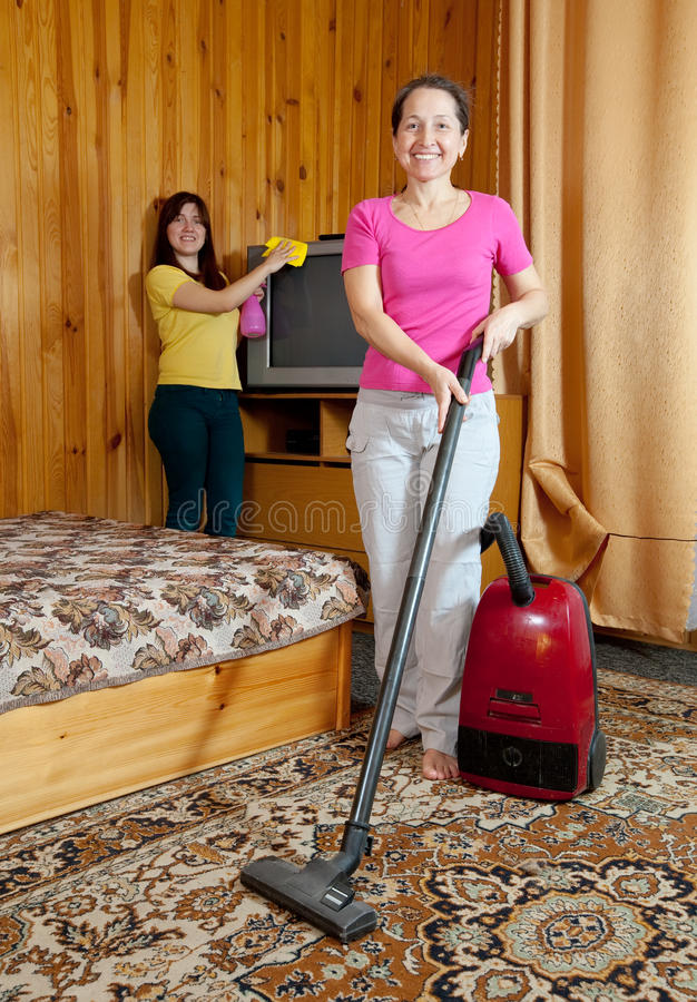 Women are cleans  in home