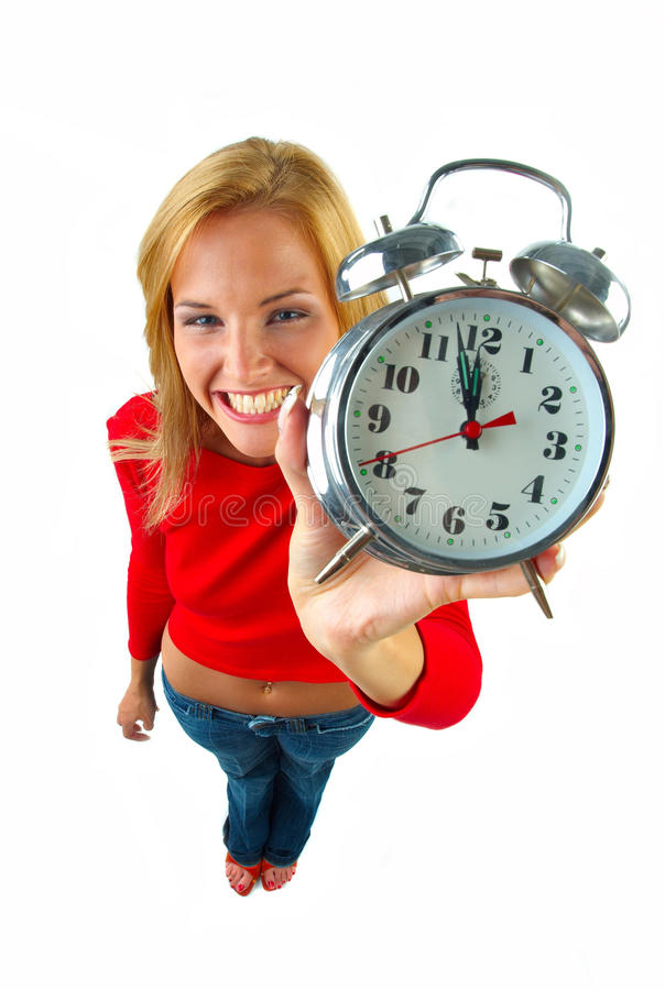 Download Women with clock stock image. Image of young, hour, time - 29423273