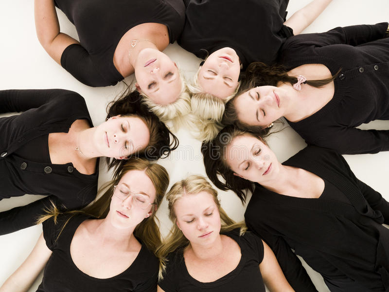 Download Women with closed eyes stock image. Image of view, high - 18924595