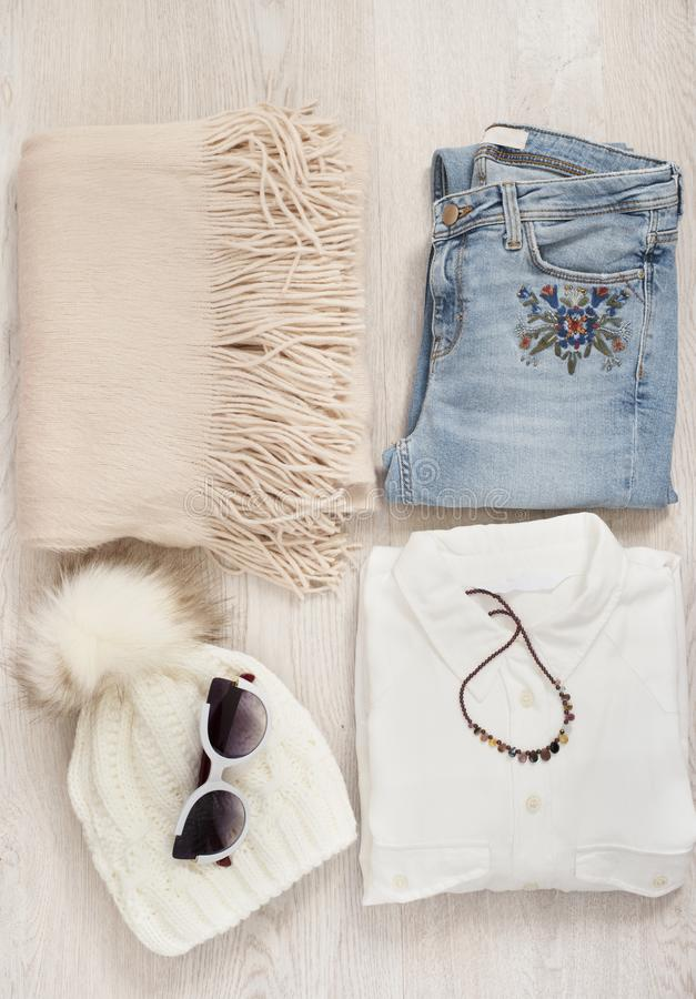 Women Clothes Collage. Fashion Blogger Resources. Shopping Concept. Fashion Set Outfits. Women Clothes Collage. Fashion Blogger Resources. Shopping Concept stock image