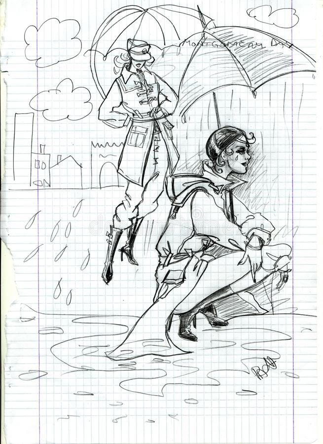 Women in coats in rain stock illustration