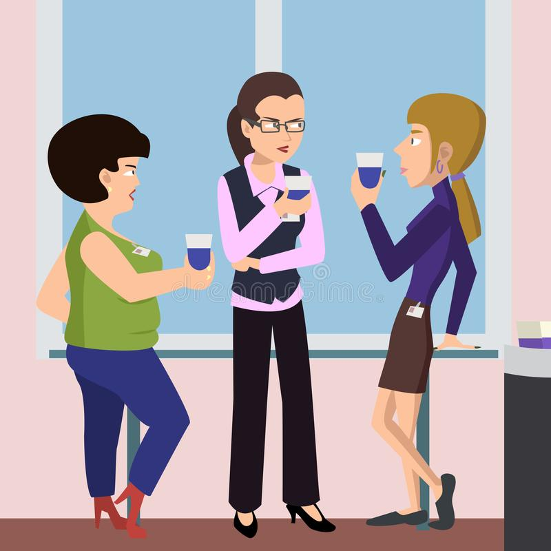 Women at coffee break vector cartoon royalty free illustration