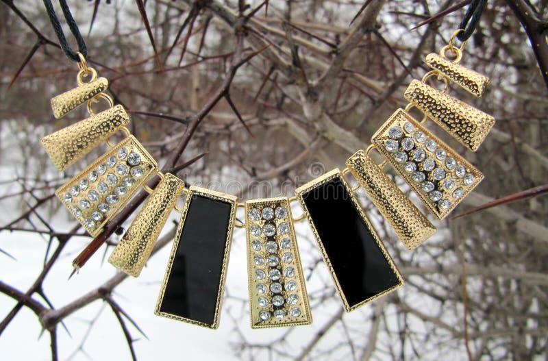 Women& x27; colar de s sob a forma dos retângulos com joias imagens de stock royalty free