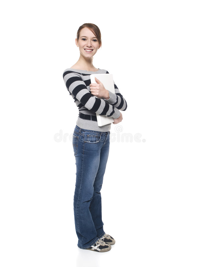 Women - college student laptop royalty free stock photography