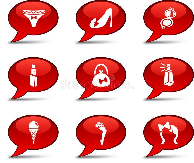 Women Comics. Women comics set. Women buttons stock illustration