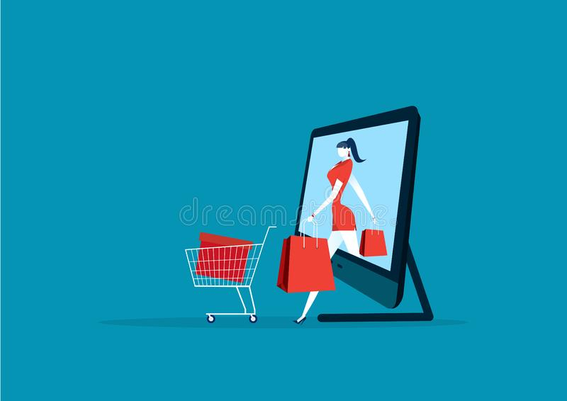 Women coming out of smartphone. lady in store and packages. buyer girl and shopping bag royalty free illustration