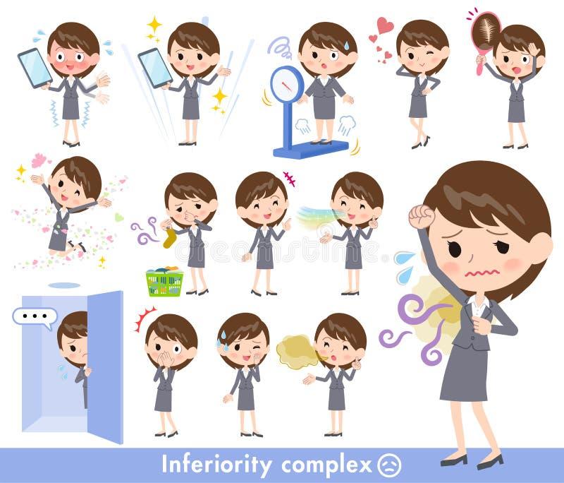 Women_complex cinzento do negócio do terno ilustração stock