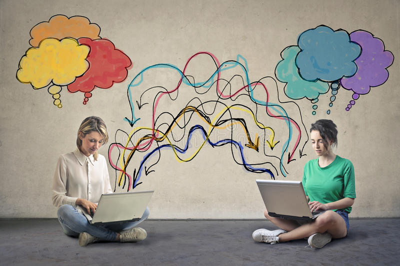 Women with computer. Women sharing information through a computer stock illustration