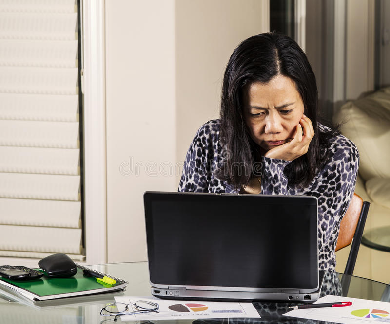 Women Confused From Information On Computer Stock Photography