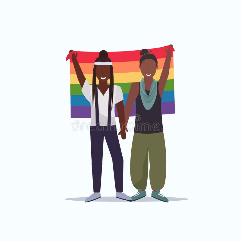 Women couple holding rainbow flag love parade lgbt pride festival concept two african american lesbians female cartoon vector illustration
