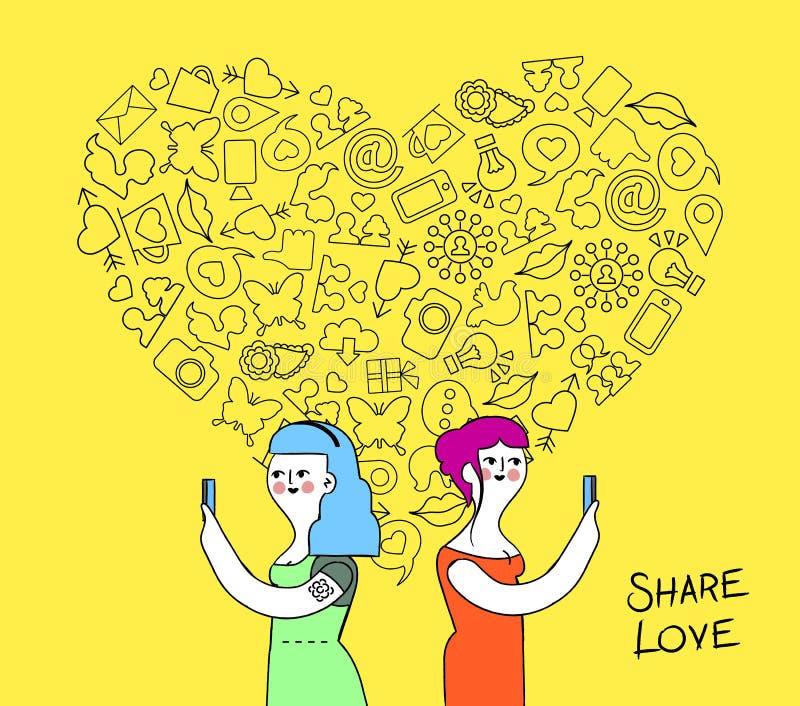 Women couple internet love concept illustration vector illustration