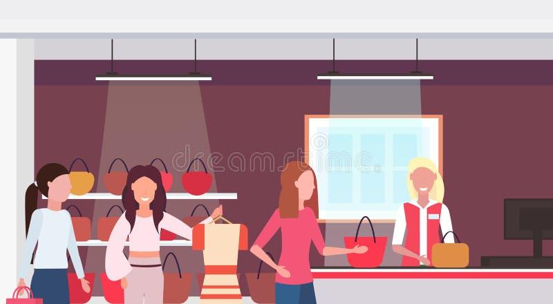 Women customers standing line queue to cash desk counter big fashion shop super market female shopping mall interior stock illustration