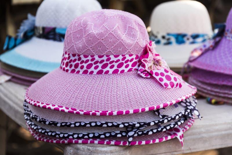 Women designer hats in Dwarka, India. Women designer hats selling on roadsides shops near bet Dwarka in Dwarka, India royalty free stock photo