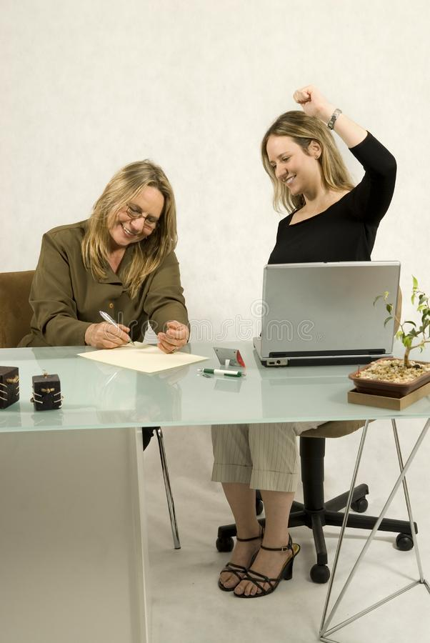 Women at Desk stock photos