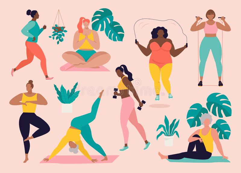 Women different sizes, ages and races activities. Set of women doing sports, yoga, jogging, jumping, stretching, fitness stock illustration