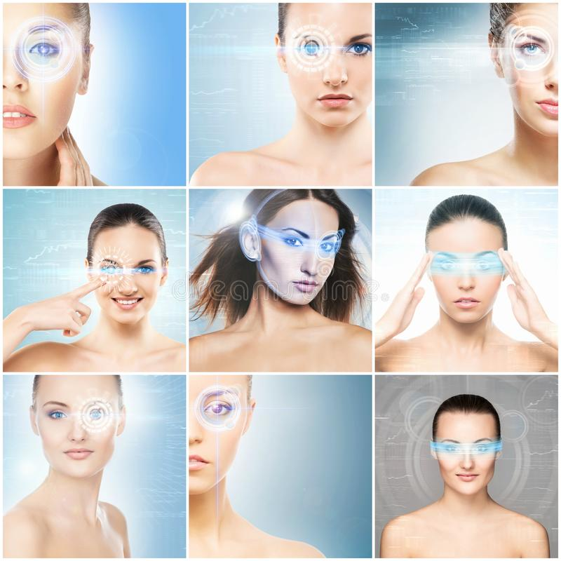 Women with a digital laser hologram on eyes collage. royalty free stock images