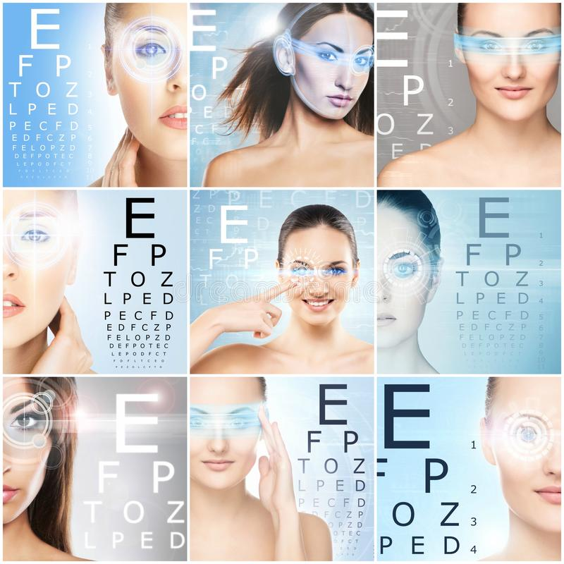 Women with a digital laser hologram on their eyes collection. royalty free stock photos