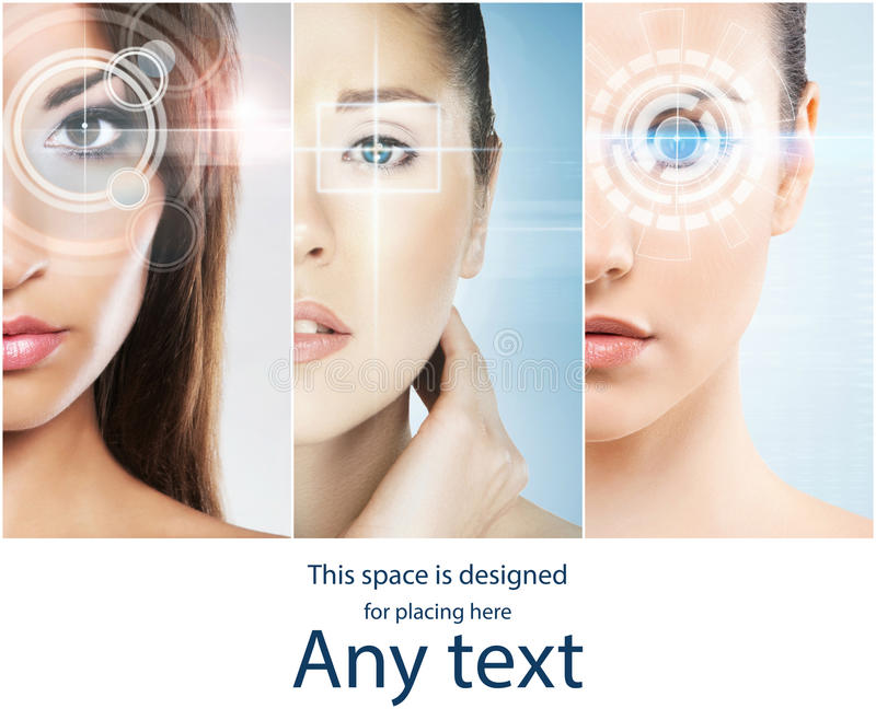 Women with a digital laser hologram on their eyes collection. royalty free stock images