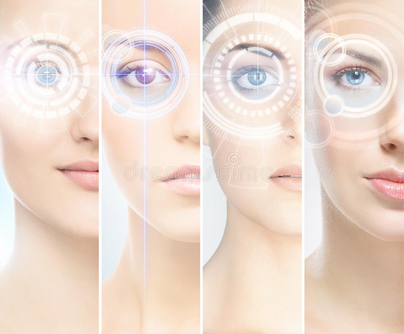 Women with digital laser hologras on their eyes stock photos